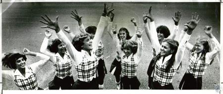 Image: di05028 - Beechwood varsity cheerleaders: Winkie Morlidge, 17, Barb Cameron, 17, Beth Boerger, 17, Jenny Haydon,....