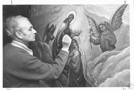 Image: di12276 - Rino Mumfrey renovating painting from Grotto