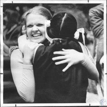 Image: di59742 - New Cath Cheerleaders L- Shelly Wientzes and R- Sherri Brewer after Newport Catholic win in State Basketball....