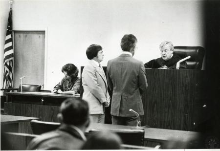 Image: di90102 - Mayor George Wermeling and his attorney Dick Sulkich face the bench as Judge James Gilliece